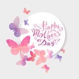 Lycklig dag för moder` s! Rosa vattenfärgfjärilar royaltyfri illustrationer