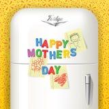 Lycklig dag för moder` som s stavas i plast- magnetiska bokstäver royaltyfri illustrationer