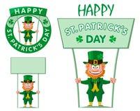 Lycklig dag för St Patrick ` s Det roliga trollet rymmer banret arkivbild