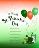 Lycklig dag för St Patrick ` s färgrik bakgrund med gåvan Arkivfoton