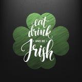 Lycklig dag för St som Patricks greating Äta, drinken och var irländsk bokstäver också vektor för coreldrawillustration royaltyfri illustrationer