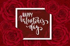 Lycklig dag för valentin s Hand dragen borstepennbokstäver på röd ros för bakgrundsblomma nolla för kort och för inbjudan för des Arkivfoton