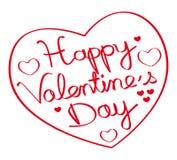 Lycklig dag för valentin` s! Hand dragen hjärtaform Röd illustration II Arkivfoton