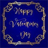 Lycklig dag för valentin` s i guld- bakgrund för kungliga blått för bokstäver och med tappningramen omkring Royaltyfri Fotografi