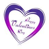 Lycklig dag för valentin` s i lilafärgbokstäver med hjärtaformer och stora Purple Heart omkring vektor illustrationer