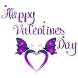 Lycklig dag för valentin` s med färgrika två fjärilar som sitter på en Purple Heart form som isoleras i vit bakgrund Arkivfoto