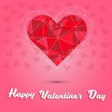Lycklig dag för valentin` s och röd hjärtapolygon på rosa hjärtabakgrund Royaltyfri Bild