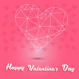Lycklig dag för valentin` s och vithjärtapolygon på rosa hjärtabakgrund Arkivbild