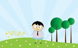 Lycklig dag med den unga pojketecknade filmen royaltyfri illustrationer