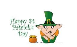 Lycklig dagberöm för St Patricks Troll med en kruka av guld- mynt vektor illustrationer