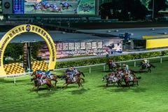 Lycklig dalracerbana Hong Kong för hästkapplöpning Royaltyfria Bilder