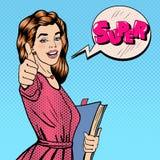 lycklig deltagare Kvinna som utmärkt gör en gest books deltagaren Royaltyfri Fotografi