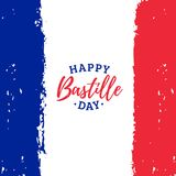 Lycklig design för kalligrafi för Bastilledag Vektorillustration på fransk nationsflaggabakgrund 14th Juli begrepp Royaltyfri Fotografi