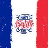 Lycklig design för kalligrafi för Bastilledag Vektorillustration på fransk nationsflaggabakgrund 14th Juli begrepp Royaltyfria Foton