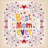 Lycklig design för kort för moderdag med handen - gjord retro typografi bästa mamma någonsin Fotografering för Bildbyråer