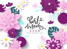 Lycklig design för kort för hälsning för dag för moder` s med härliga blomningblommor, fjärilar och bokstäver Mest bra någonsin g vektor illustrationer