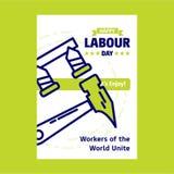 Lycklig design för Labour dag med gräsplan- och blåtttemavektorn med Co stock illustrationer