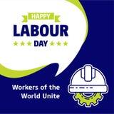 Lycklig design för Labour dag med gräsplan- och blåtttemavektorn med la stock illustrationer