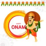 Lycklig design för Onam hälsningkort med illustrationen av konungen Mahaba stock illustrationer