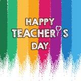 Lycklig design för orientering för dag för lärare` s med det färgrika kritakortet stock illustrationer