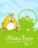 Lycklig design för påskhälsningkort Royaltyfria Bilder