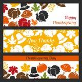 Lycklig design för tacksägelsedagbaner med ferie stock illustrationer