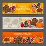 Lycklig design för tacksägelsedagbaner med ferie royaltyfri illustrationer