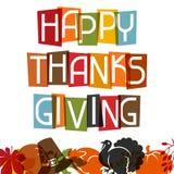 Lycklig design för tacksägelsedagkort med ferie stock illustrationer