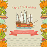 Lycklig design för tacksägelseinbjudankort Fotografering för Bildbyråer