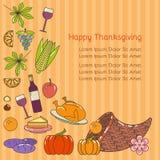 Lycklig design för tacksägelseinbjudankort Arkivbild