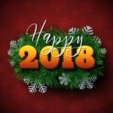 Lycklig design för 2018 text Arkivfoton