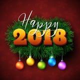 Lycklig design för 2018 text Fotografering för Bildbyråer
