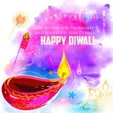 Lycklig Diwali bakgrund som är coloful med vattenfärgdiya royaltyfri illustrationer
