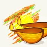 Lycklig Diwali beröm med upplysta tända lampor vektor illustrationer