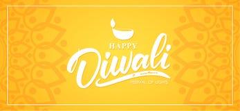 lycklig diwali Bokstäver för hand för hälsningbanerintelligens, indisk prydnad och lampa vektor illustrationer