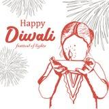 Lycklig Diwali hälsningdesign med flickan för barn för tappninghand den utdragna, bränningdiya och fyrverkeribakgrund Vektorillus stock illustrationer
