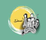 Lycklig Diwali idérik reklamblad för den Diwali festivalen vektor illustrationer