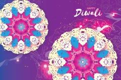 lycklig diwali Indisk beröm i papperssnittstil Härlig hinduisk festival för origami av ljus färgrik mandala Arkivfoton