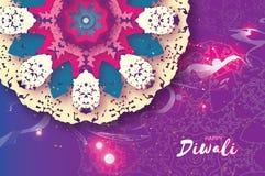 lycklig diwali Indisk beröm i papperssnittstil Härlig hinduisk festival för origami av ljus färgrik mandala Royaltyfria Bilder