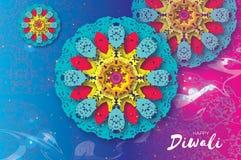 lycklig diwali Indisk beröm i papperssnittstil Härlig hinduisk festival för origami av ljus färgrik mandala Royaltyfri Bild