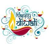 Lycklig Diwali typografi i kalligrafistil för festival av Indien Arkivbild
