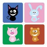 lycklig djur grupp stock illustrationer