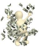 Lycklig docka med pengar royaltyfri illustrationer