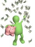 Lycklig docka och sedlar av dollar vektor illustrationer
