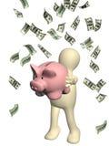 Lycklig docka och sedlar av dollar stock illustrationer