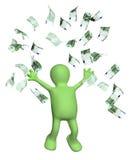 Lycklig docka och sedlar av euroet vektor illustrationer
