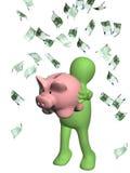 Lycklig docka och sedlar av euroet stock illustrationer