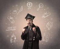 Lycklig doktorand- tonåring med hand drog skolasymboler Royaltyfri Bild