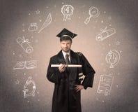 Lycklig doktorand- tonåring med hand drog skolasymboler Arkivfoto