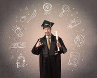 Lycklig doktorand- tonåring med hand drog skolasymboler Royaltyfria Bilder